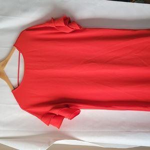Maurices orange Ruffle sleeve midi t shirt dress size small